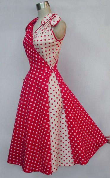 Red and White Polka Dot Lap Dress