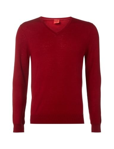 OLYMP-LEVEL-5 Body Fit Pullover aus Schurwoll-Seide-Mix in Rot online kaufen (9530621) | P&C Online Shop