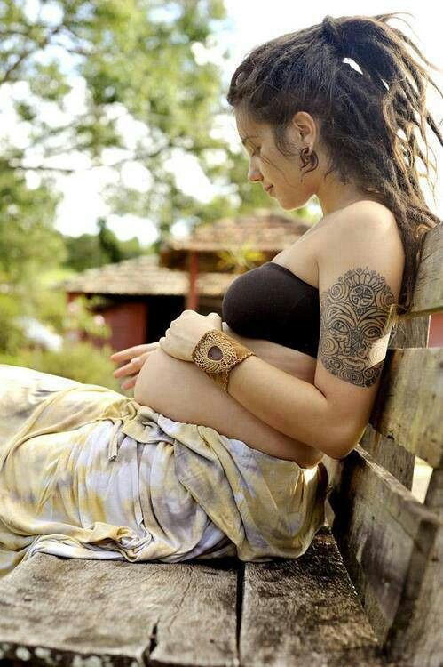 Dreads, tattoos and baby belly!! Love it!!