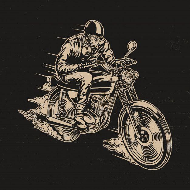 Man Riding Motorcycle Vector Illustration Bike Illustration Motorcycle Illustration Vector Illustration
