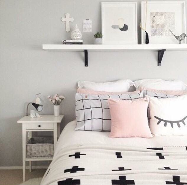 Love the pastels - I like the shelf above the bed and the end table sitting there