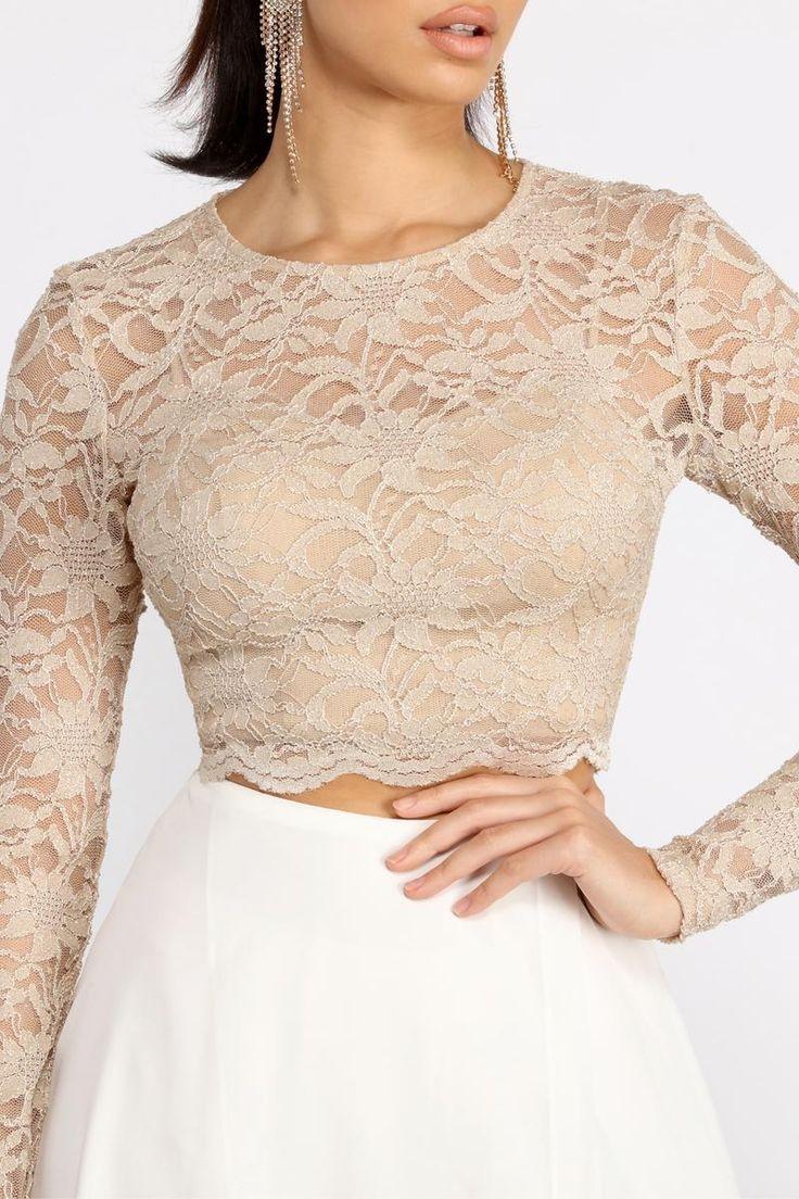 Baylee Scallop Glitter Lace Two Piece Chiffon Dress In 2021 Lace Top Dress Lace Top Outfits Lace Top Long Sleeve [ 1104 x 736 Pixel ]