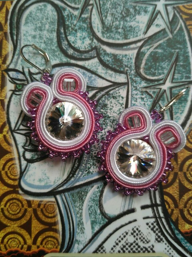 Soutache earrings  pink dreams