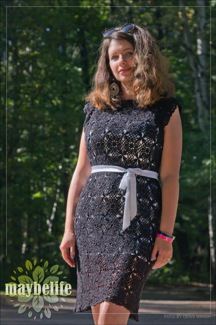 """Платье """"Черный жемчуг"""". Платье выполнено крючком. Материал: хлопок, размер 44-46, длина 93 см. Подкладка и пояс из стрейч-атласа белого цвета. Возможно исполнение по вашему желанию в любом цвете. Срок изготовления 1 неделя."""