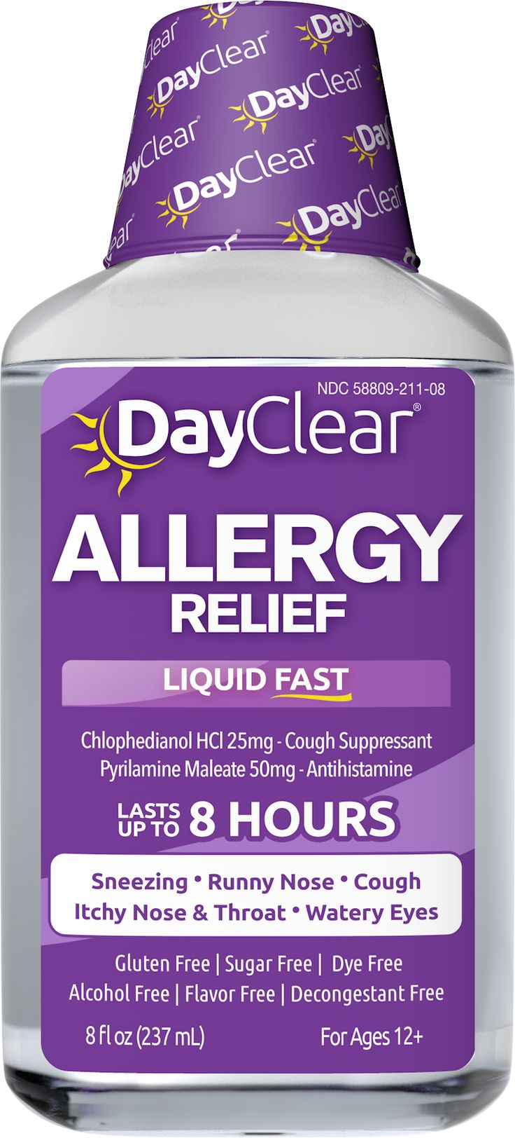 DayClear® Allergy Relief delivers powerful relief for your mild to severe allergy symptoms. This multi-symptom formula works liquid fast to soothe the tickle in your throat and relieve irritating