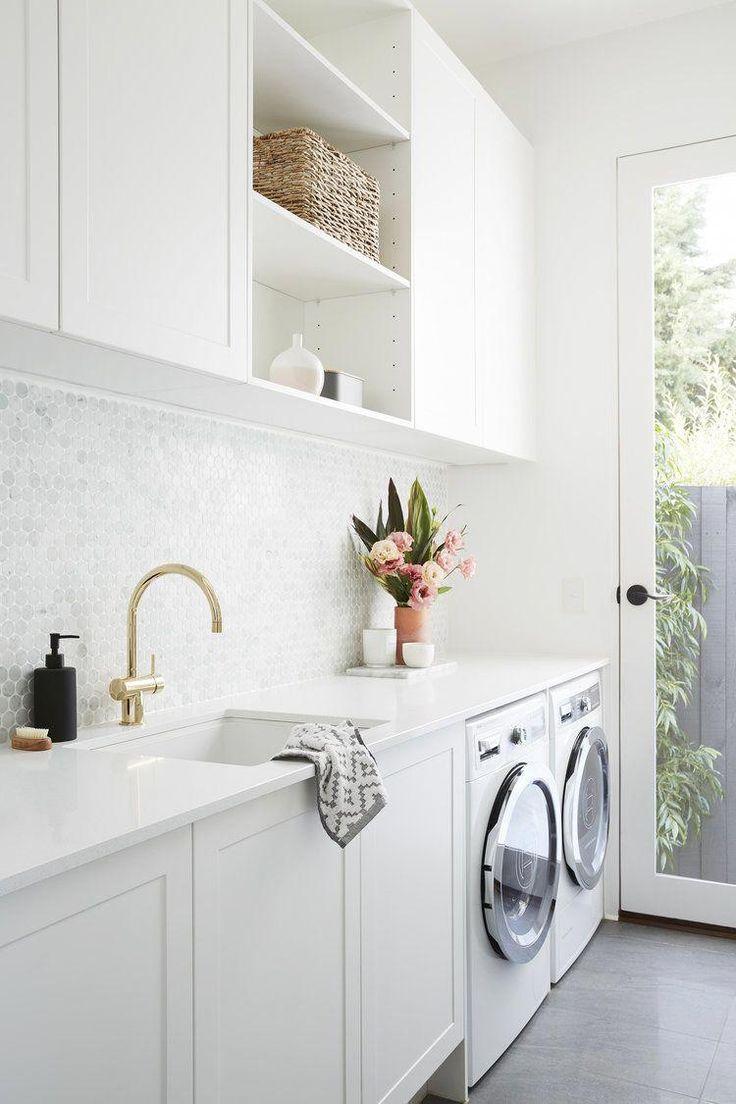 Laundry Room with Marble Penny Tile Backsplash
