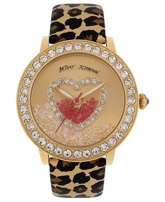 Betsey Johnson Watch, Women's Brown Leopard Printed Leather Strap 42mm BJ00158-02 - Women's Watches - Jewelry & Watches - Macy's