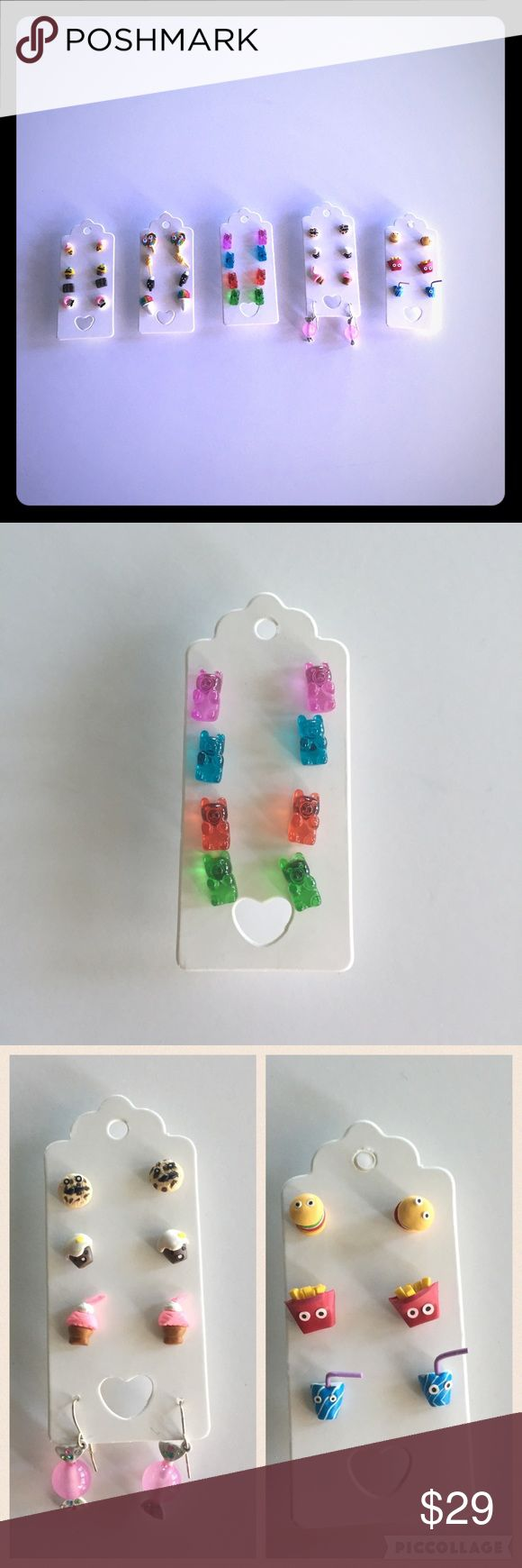 19 Pairs - Claire's Foodie Earrings -Stud & Dangle Gummy bears, cookies, lollipops, snow cones, chololate bars, popsicles, candy, cupcakes, donuts, hamburgers, fires, shakes. Some with faces, some without. 18 Pairs of stud earrings, 1 pair of dangle earrings. Claire's Accessories Jewelry