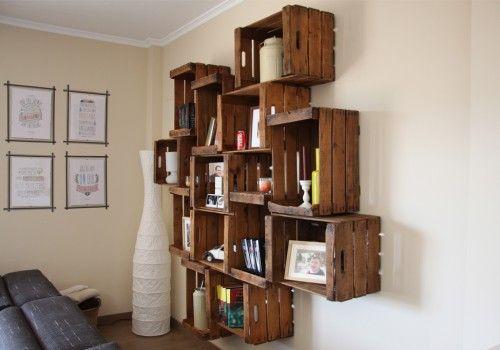 Abedul estanter a cajas de fruta estanter a realizada con for Puertas con madera reciclada