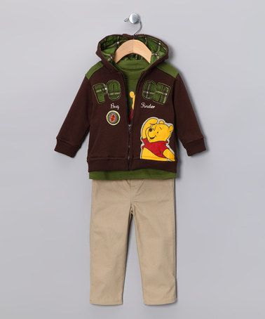 Take a look at this Brown Winnie the Pooh 'Bug Finder' Zip-Up Hoodie Set - Infant by Disney on #zulily today!