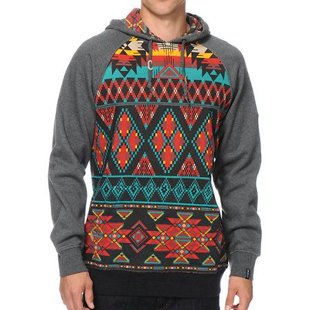 A tribal print body and charcoal raglan sleeves gives two tone style with a kangaroo pouch pocket and a soft fleece lining for great comfort.