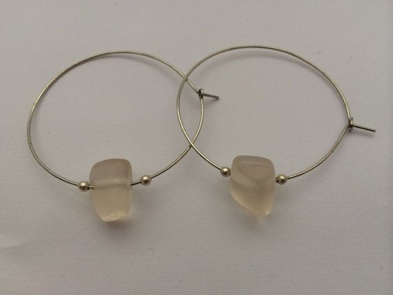 Silver hoops with opaque glass bead by BillyandElizabeth on Etsy, $5.00