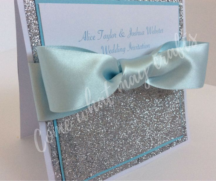 The glittery show stopper is a perfect personalised wedding invitation. Can be personalised to colour scheme and with names and/or dates on the front in writing. Completely handmade by Come What May Crafts.