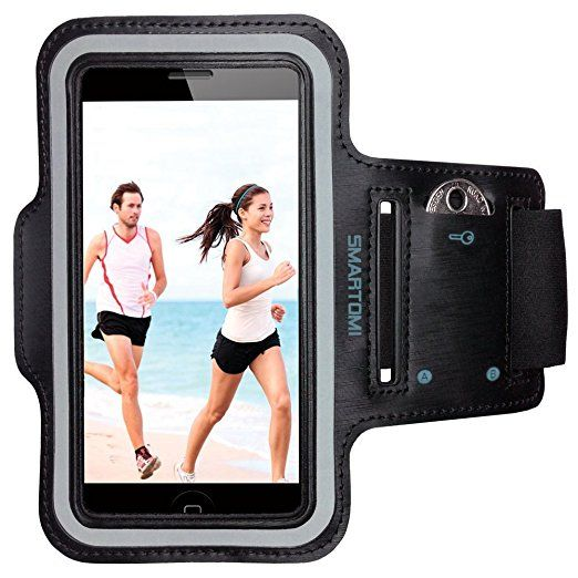 """Armband for iPhone 6 Plus/6S plus by Smartomni, Sport Armband with Adjustable Length Band w/ Key Slots and Card Slot Compatible with Most of 5.5"""" Devices (Black) Bike Running or Any Fitness Activity"""