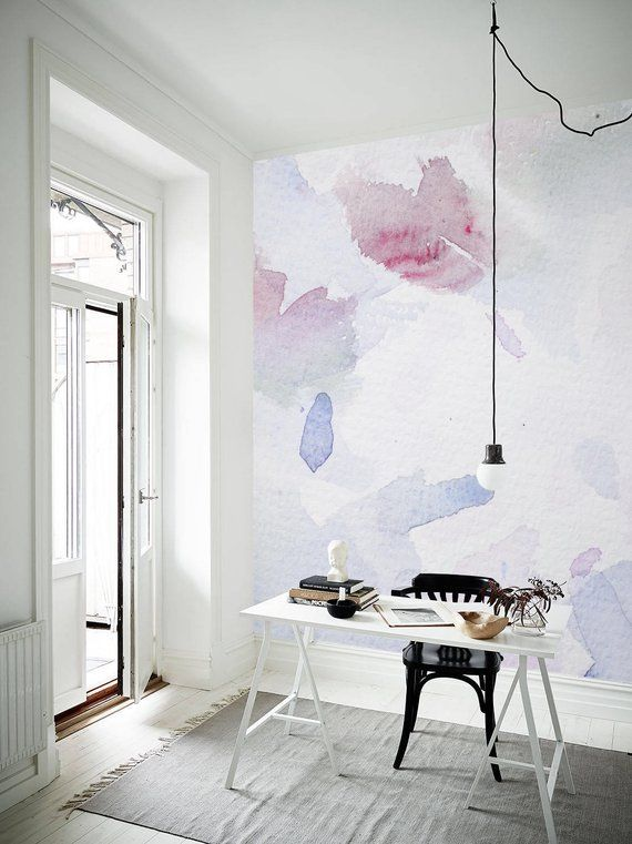 Abstract Watercolor Wall Mural Abstract Wallpaper Peel And Stick Removable Wallpaper Wall Decal Wall Covering Blue Painting Art 3 In 2019 Nursery Wall Decor Watercolor Wallpaper Wall