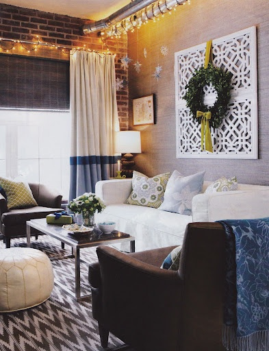 Gray + blues + white living room.  apartment living.  small spaces.  home decor and interior decorating ideas.