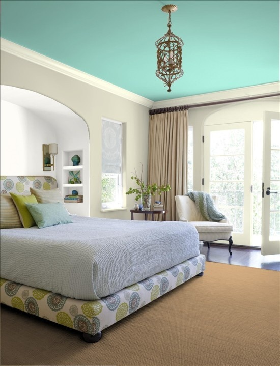 Love the Tiffany colored ceiling!