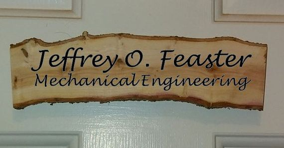 Rustic office door name plate or sign 100% by StoneRidgeWoodWorks