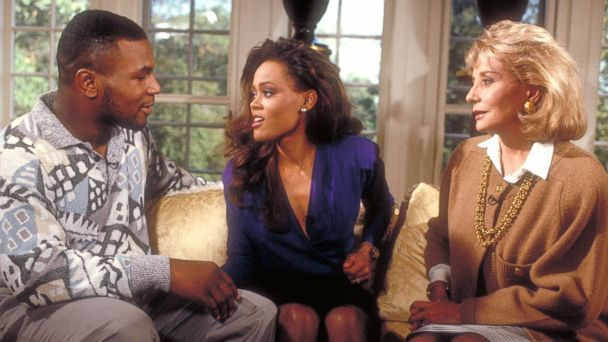 """Soundbite PHOTO: Barbara Walters interviewed heavyweight boxer Mike Tyson and his wife, actress Robin Givens, on """"The Barbara Walters Special,"""" which aired on the ABC Television Network."""