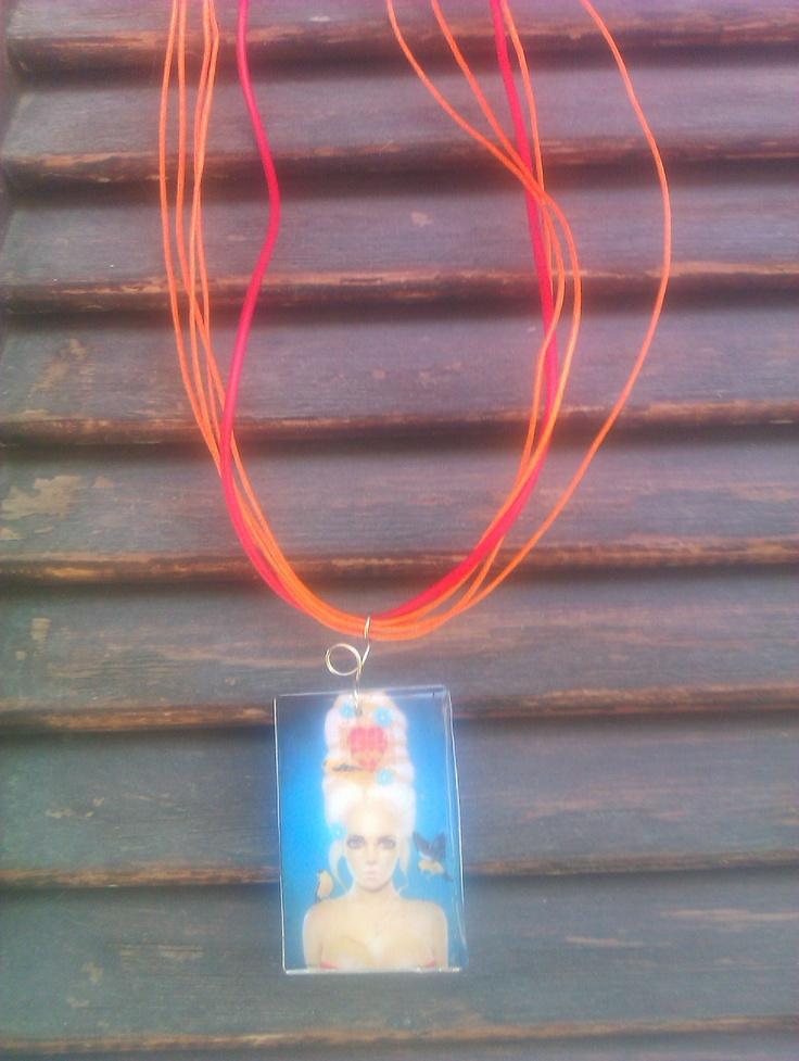 Necklace, ribbon, glass