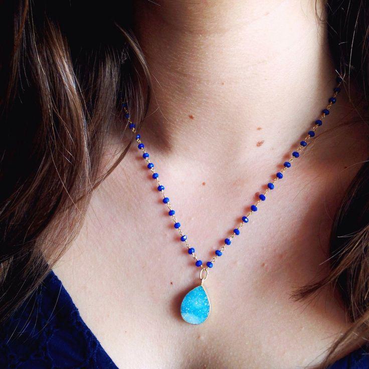 Druzy Necklace - Blue Agata and Druzy Necklace de ONEJEWELBCN en Etsy