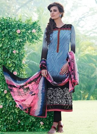 Black N Blue Print Work Casual Wear Churidar Salwar Suit http://www.angelnx.com/Salwar-Kameez
