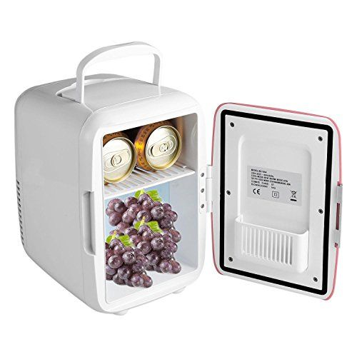 Asatr Mini Fridge 4 Liter / 6 Can portable thermoelectric cooler and warmer mini fridge for bedroom, Home, Office Pink (US Stock)  Dimension: 17.8 x 24.3 x 24cm/6.9 x 9.4 x 9.4inch, Weight: 1.87kg, Mini sized, with carrying handle, very convenient  Dual functions of cooling and warming,Hot/cold switch, red/green lights indicate warming or cooling status  Mini sized with car charger and carrying handle, very convenient  Low-noise, works without CFC  It is ship from US warehouse, once or...