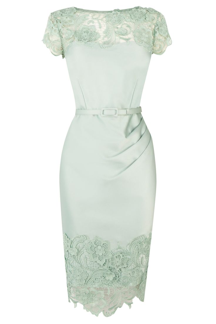 Classic Duchess Satin Dress with lace overlay and tucks and the waist.