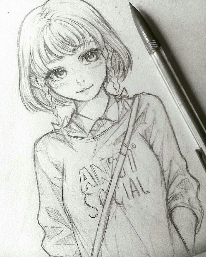 Anti Social Anime Sketch Girl Black And White Pencil Sketch Anime Drawings Sketches Anime Sketch Sketches