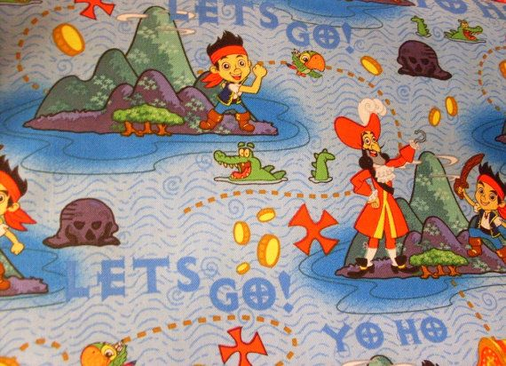 Jake the pirate fabric by the half yard novelty kids for Kids pirate fabric