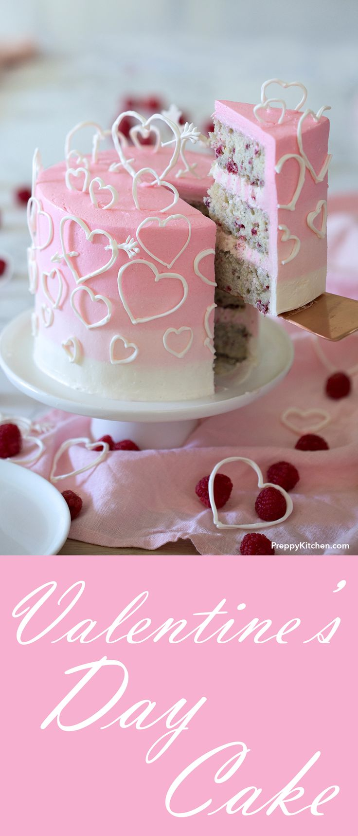 White Chocolate Raspberry Cake Covered in an Ombré Pink Italian Buttercream and Delicate Hearts