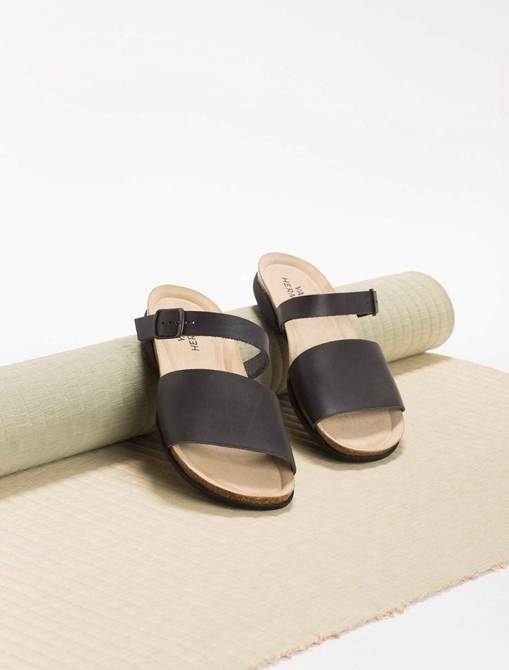 FREE SHIPPING, black sandales, Leather sliders shoes, rubber soles, cork soles, comfortable sandals by YaelHerman on Etsy https://www.etsy.com/listing/236218058/free-shipping-black-sandales-leather