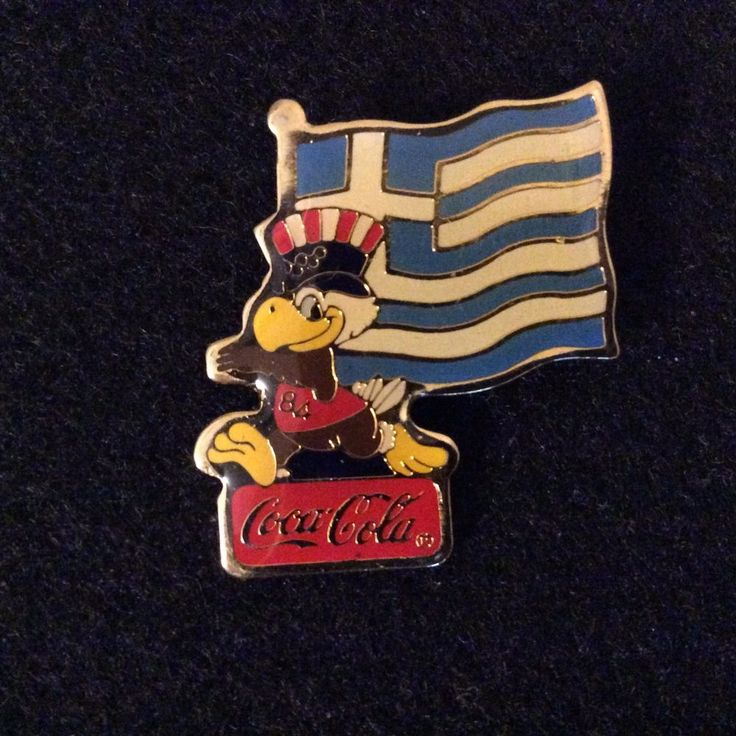 1984 LA Olympic Sponsor Coca Cola Sam Greece Flag Pin Back #Greece