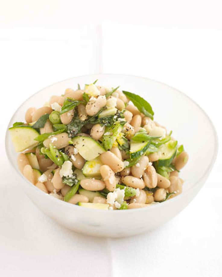 White-Bean Salad with Zucchini and Parmesan | Martha Stewart Living - White beans add protein while chopped zucchini adds crunch to this delicious vegetarian salad from Allison Jeffries of Bethesda, Maryland.