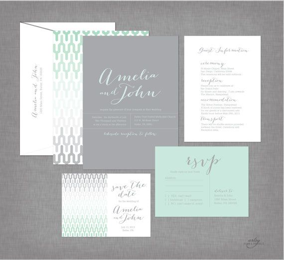 MODERN GEOMETRIC Print Wedding Invitations  by ArtsyDesignCo