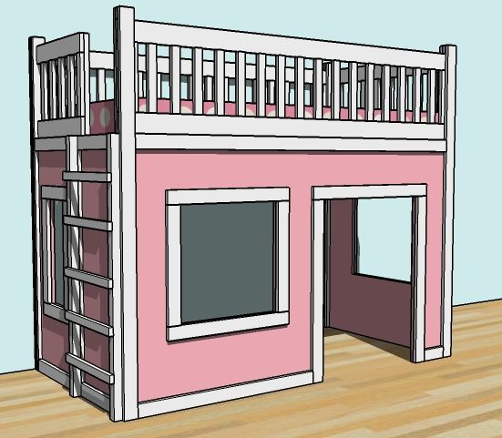 Build a Playhouse Loft Bed | Free and Easy DIY Project and Furniture Plans