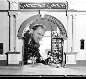 GEORGE PAL - animating beneath a miniature of Paramount's Bronson Gates.