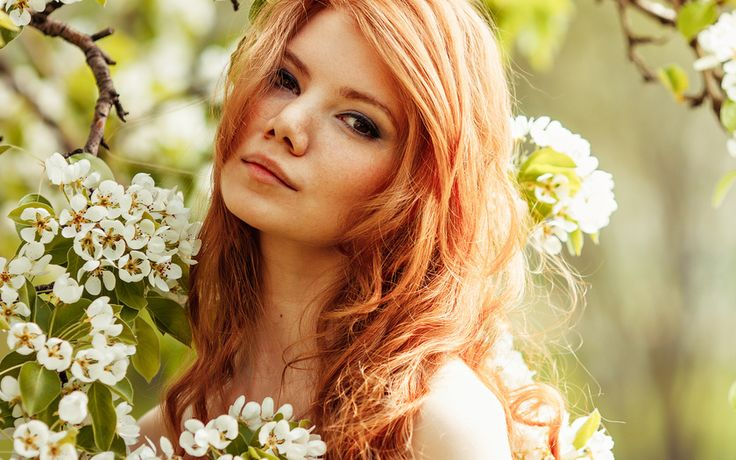 весна, цветение, аромат, девушка, наслаждение, настроение, рыжая, веснушки