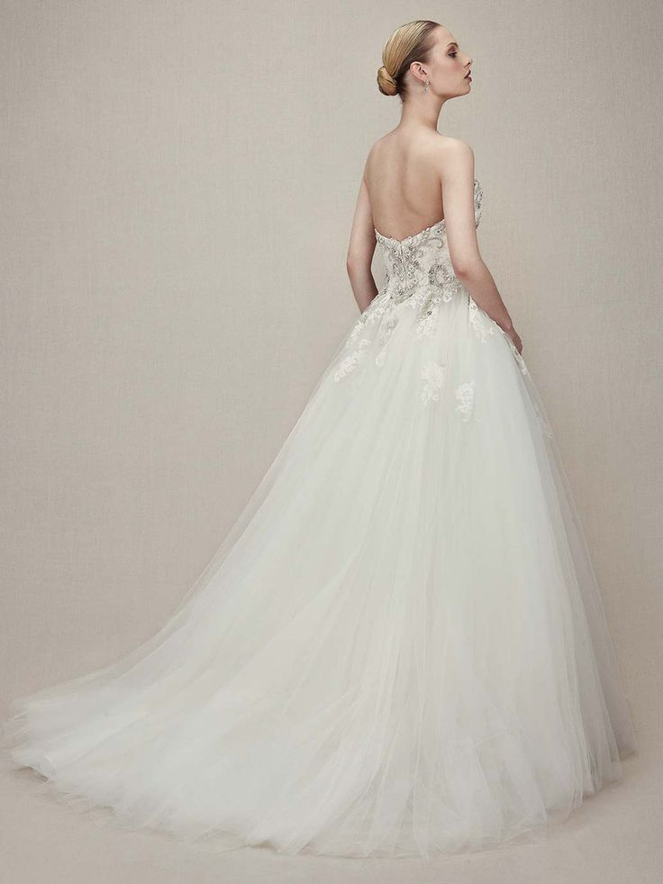 Beautiful enzoani bridal kristiana strapless sweetheart tulle ball gown wedding dress beaded embroidered lace bodice back train