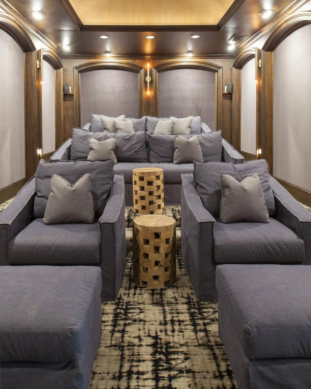 Theater Room by Lisa Sherry Interieurs #movieroomdecor #hometheater #home #theat… Theater Room by Lisa Sherry Interieurs <a class=