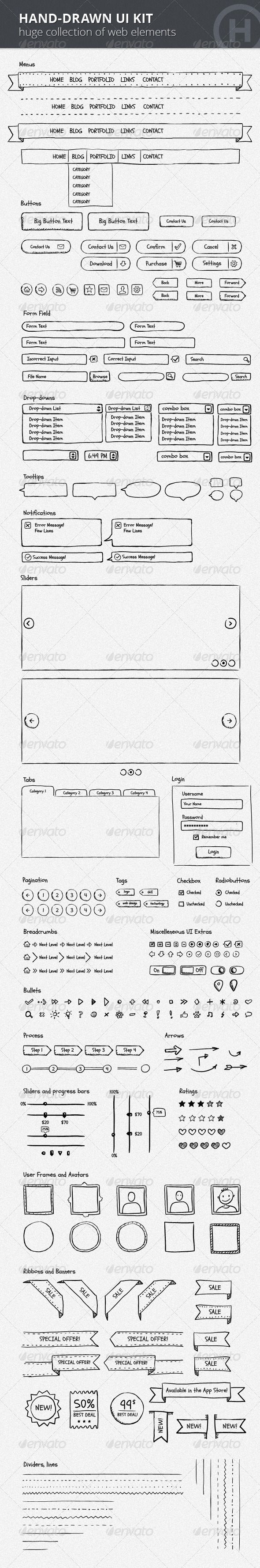 Hand-Drawn UI Kit I fully appreciate the raw sketch ideation of a design so we don't get led astray by design but rather focus on UX.