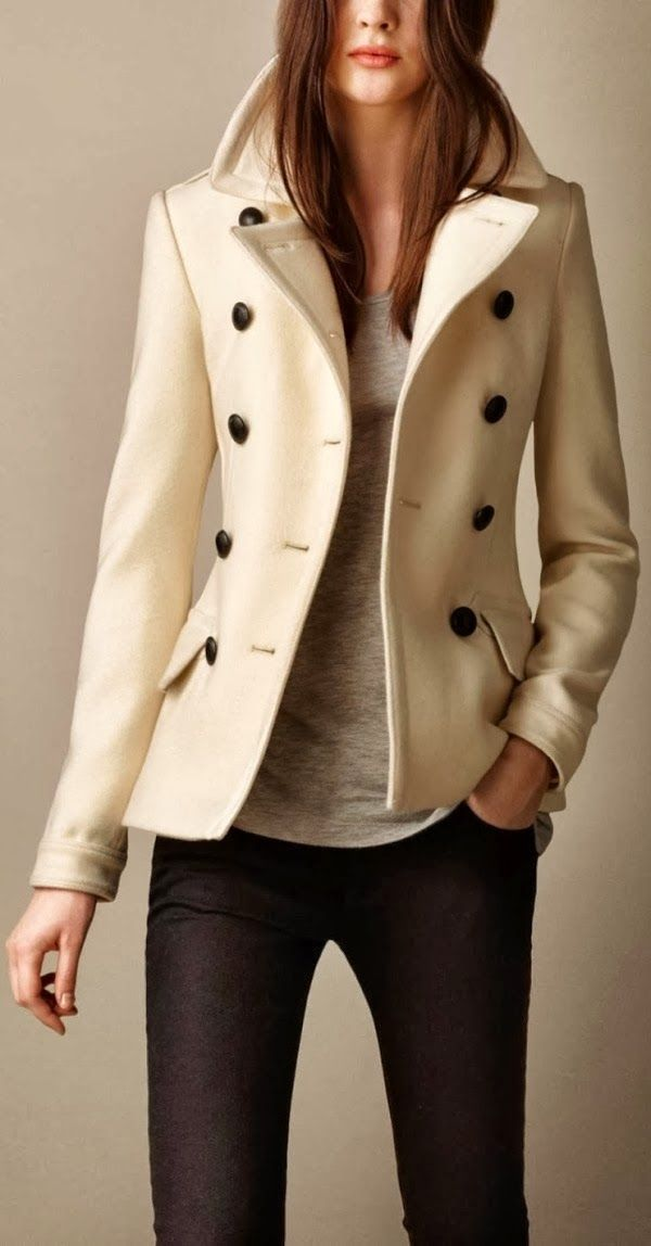 Gorgeous burberry white wool cashmere pea coat   Fall   Winter Fashion!    Fashion, Burberry, Coat 743f59bf036