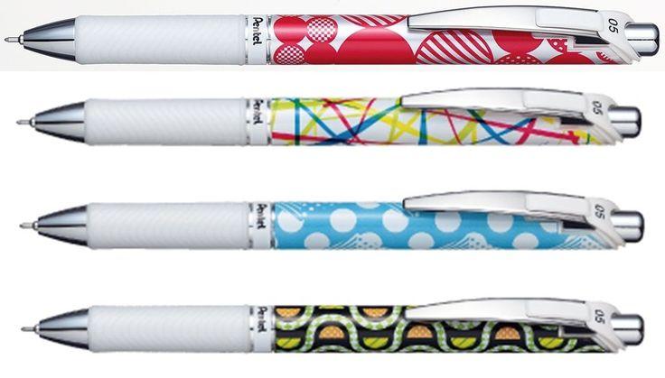 4 X Pentel EnerGel Roller Pen 0.5mm Limited Edition Black ink special pattern #Pentel