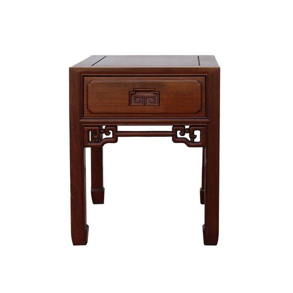 Chinese Oriental Brown Simple Motif End Table Nightstand Cs4347e Antique Chinese Furniture End Tables Small Cabinet