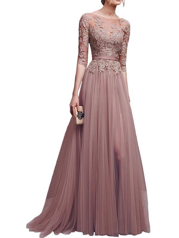 Laceshe Women S Elegant Long Gown Dress Uzun Elbise Elbise Elbiseler