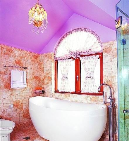 Bathroom, Purple ceiling---love ceiling, tub and window.  (not curtain).  That tone of purple is amazing.