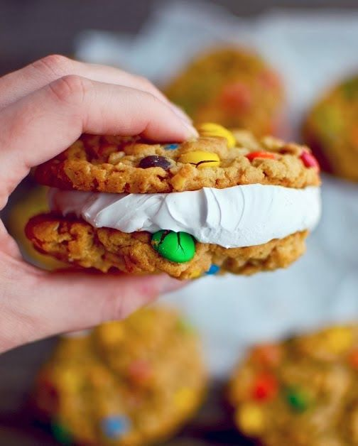 Like the Little Debbie Oatmeal Creme Pies of your childhood, but loaded with M&Ms and Peanut Butter