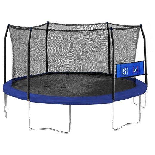 Give your kids a place to burn off extra energy! This Skywalker Trampoline features a full enclosure system with foam padded poles and the patented no-gap enclosure system that attaches to the jumping surface at every spring to eliminate dangerous gaps (Patent #RE45,182). The frame is made of rust resistant galvanized steel frame and uses T-joint construction for extra frame stability. This 15' trampoline includes 96 rust resistant galvanized steel springs which are located on the outside...