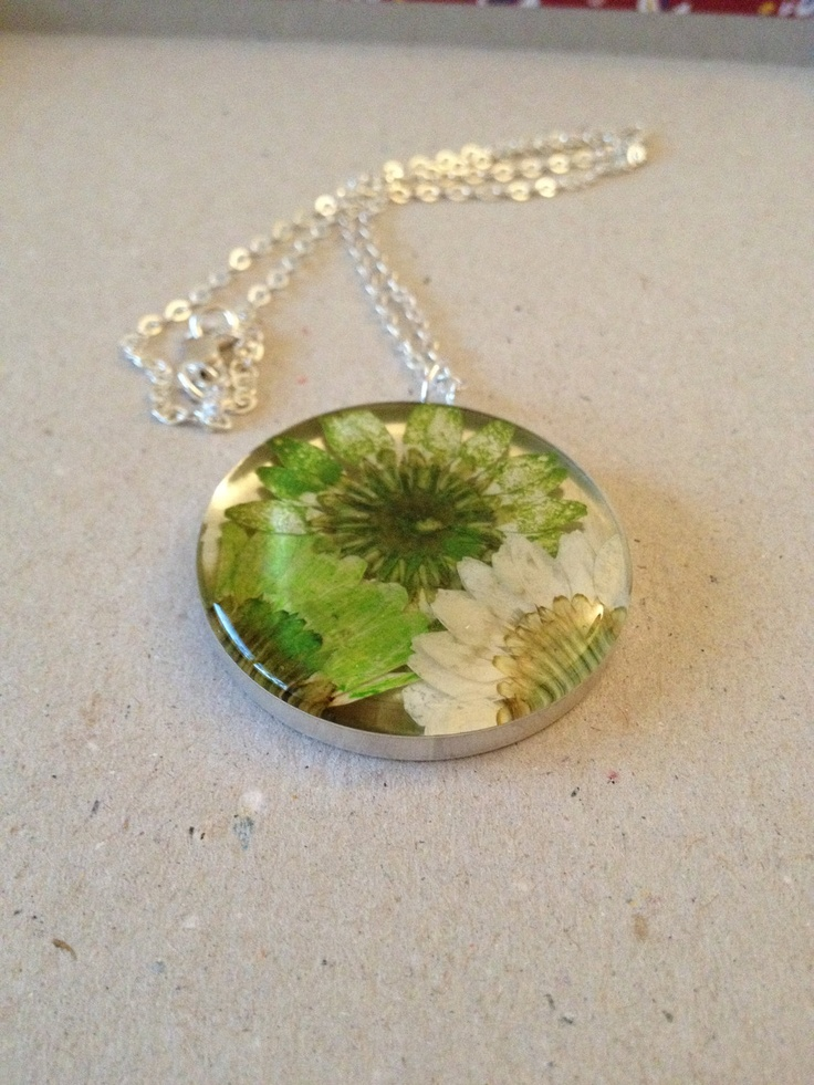 Green Mixed Flower Resin Pendant. $30.00, via Etsy.