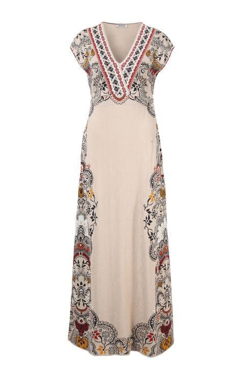 Long Dress Intarsia Pattern - Dress | Ivko Woman